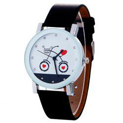 Bike Faux Leather Strap Watch