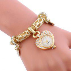 Alloy Strap Rhinestone Heart Charm Bracelet Watch - Golden