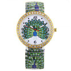 Rhinestone Peacock Face Elastic Steel Strap Watch - GREEN
