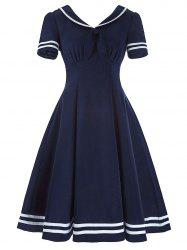 Sailor Collar High Waist Vintage Dress - PURPLISH BLUE