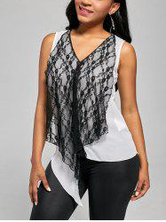 Contrast Draped Lace Chiffon Tank Top