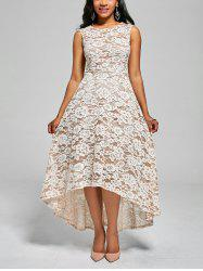 Floral Crochet High Low A Line Dress - White - 2xl