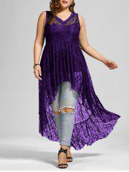 See Through Lace High Low Plus Size Top - Purple - 5xl