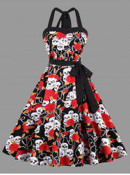 Halter Floral Skull Print Plus Size Vintage Dress -