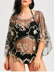 Retro Wave Cut Lace Beach Cover Up
