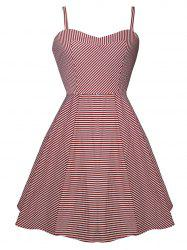 Vintage Spaghetti Strap High Low Striped Dress