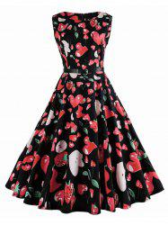 Vintage Strawberry Print Sleeveless Belt Dress