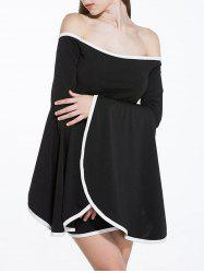 Off Shoulder Flare Sleeve Two Tone Dress