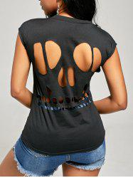 Cap Sleeve Skull Cut Out T Shirt