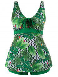 Tropical Palm Leaf Plus Size Tankini Set