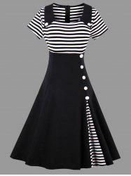 A Line Striped Vintage Plus Size Dress - BLACK