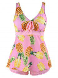 Pineapple Print Plus Size Tankini Set