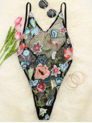 Floral Embroidered Mesh Teddy