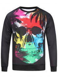 Color Block Skull and Leaves Print Sweatshirt - COLORMIX