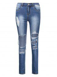 Ankle Length High Waisted Skinny Ripped Jeans - DEEP BLUE