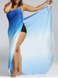 Plus Size Ombre Wrap Cover Up Maxi Dress - BLUE