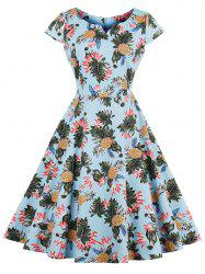 Pineapple Print A Line Vintage Plus Size Dress - LIGHT BLUE 2XL