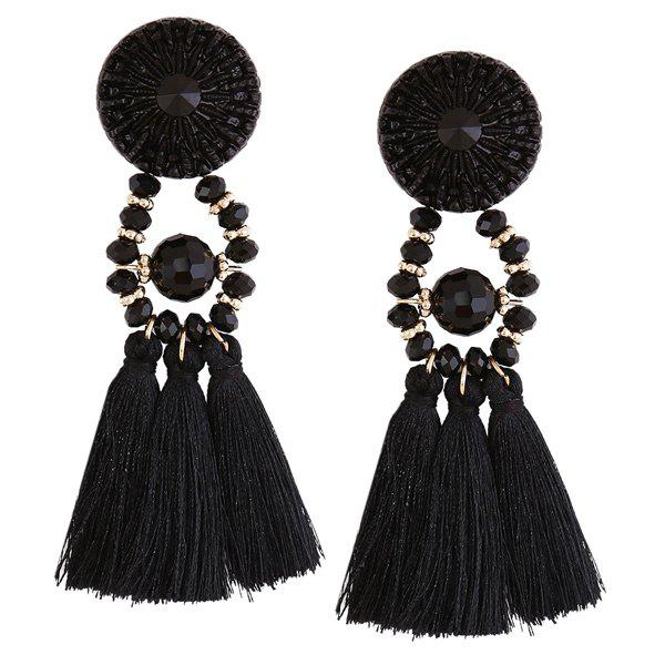 Fashion Resin Circle Beaded Tassel Earrings