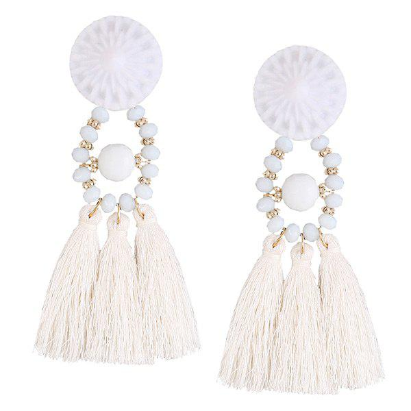 Cheap Resin Circle Beaded Tassel Earrings