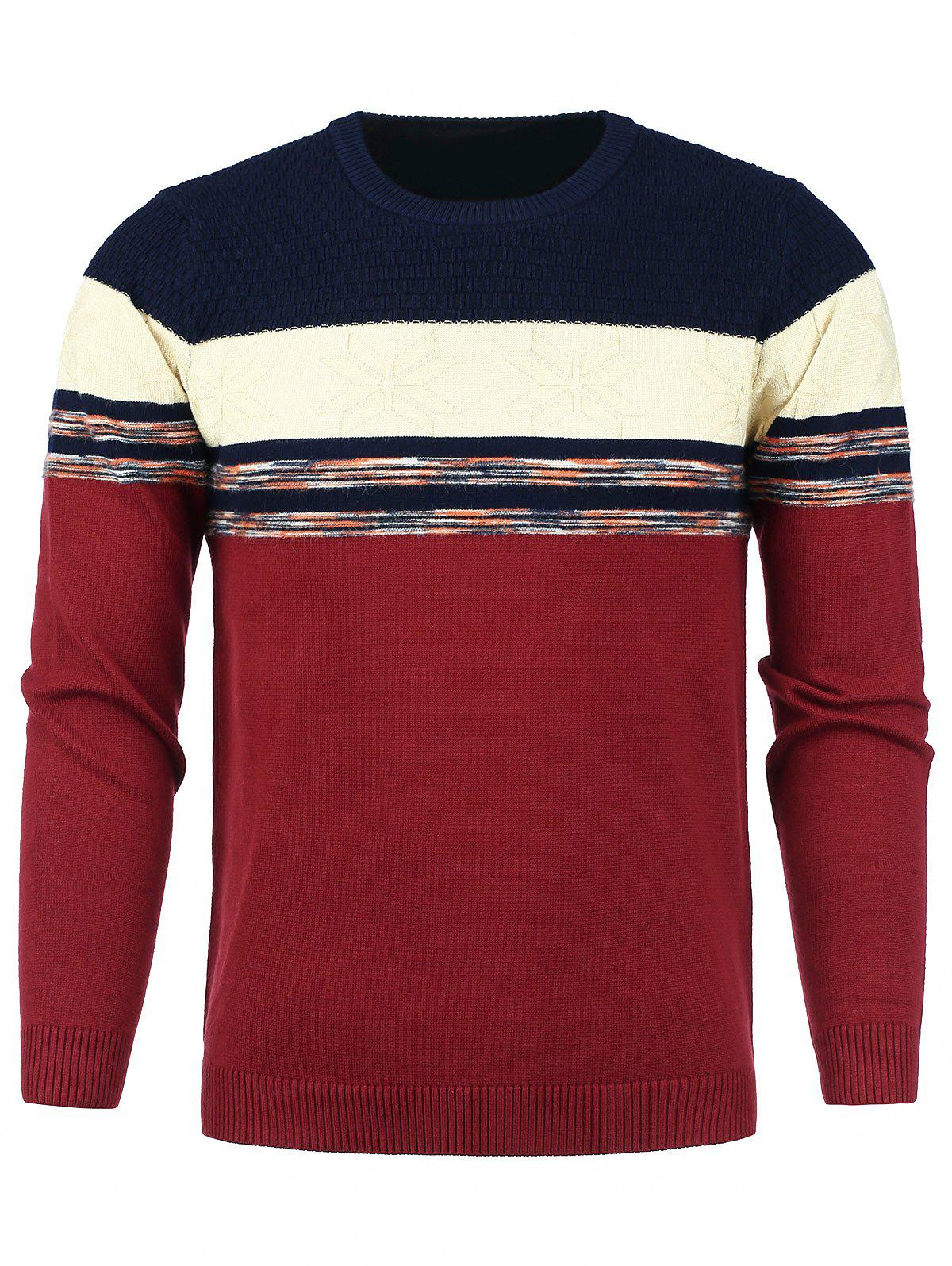 New Color Block Panel Snowflake Knitted Sweater