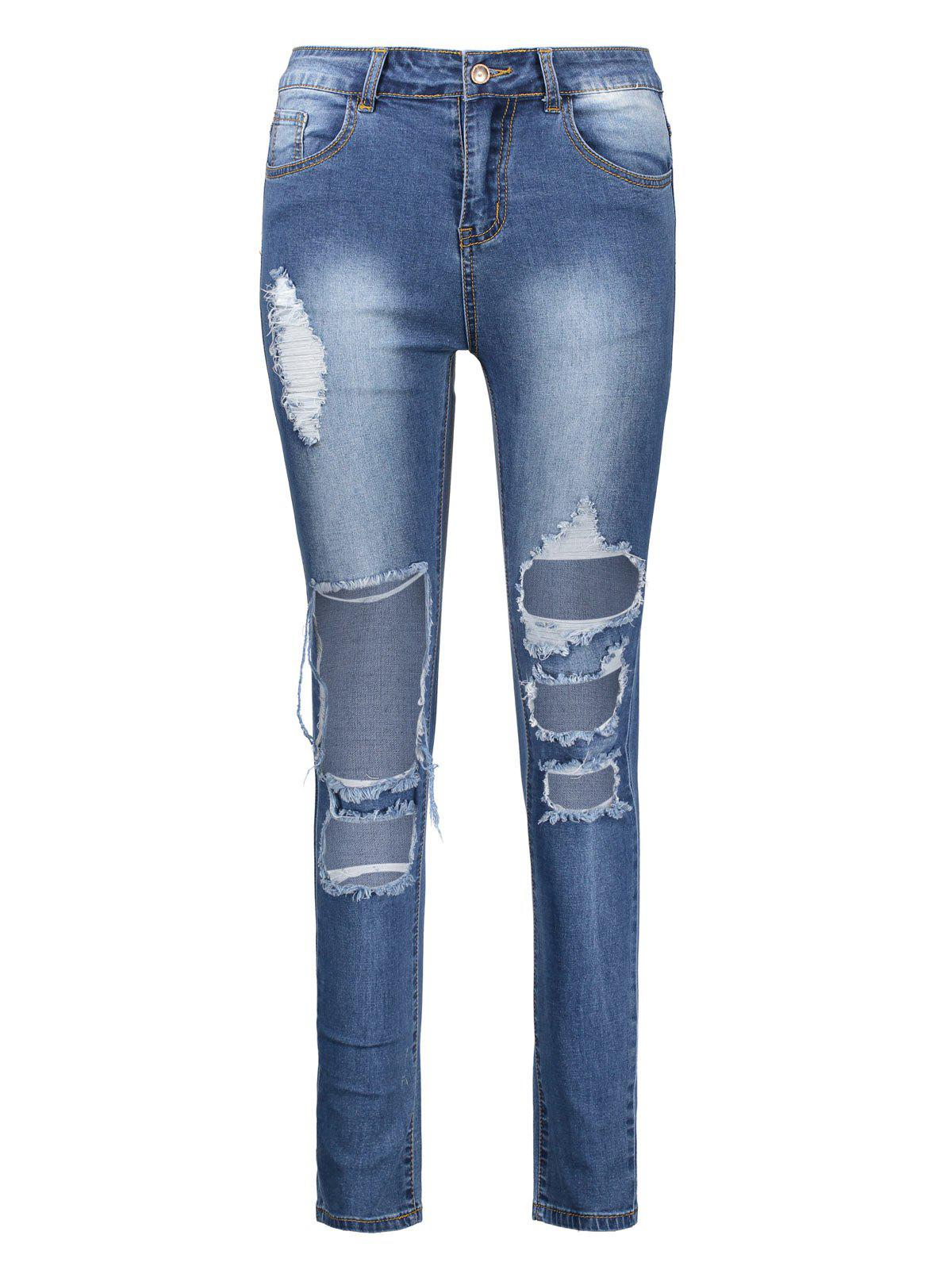 New Ankle Length High Waisted Skinny Ripped Jeans