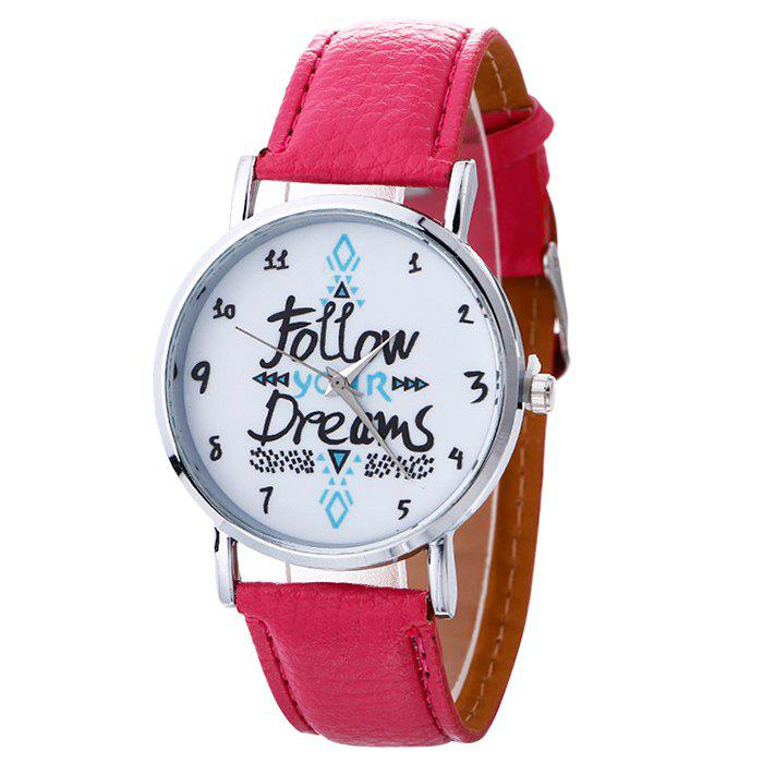 Follow Your Dreams Pattern Faux Leather Strap WatchJEWELRY<br><br>Color: TUTTI FRUTTI; Gender: For Women; Style: Fashion; Type: Quartz watch; Index Dial: Analog; Case material: Alloy; Band material: PU Leather; Movement: Quartz; Dial Shape: Round; Water-Proof: No; Case Thickness(MM): 10mm; Dial Diameter: 4cm; Band Length(CM): 23cm; Band Width(CM): 2cm; Package Contents: 1 x Watch;