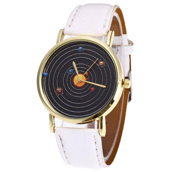 White Solar System Face Faux Leather Strap Watch | RoseGal.com