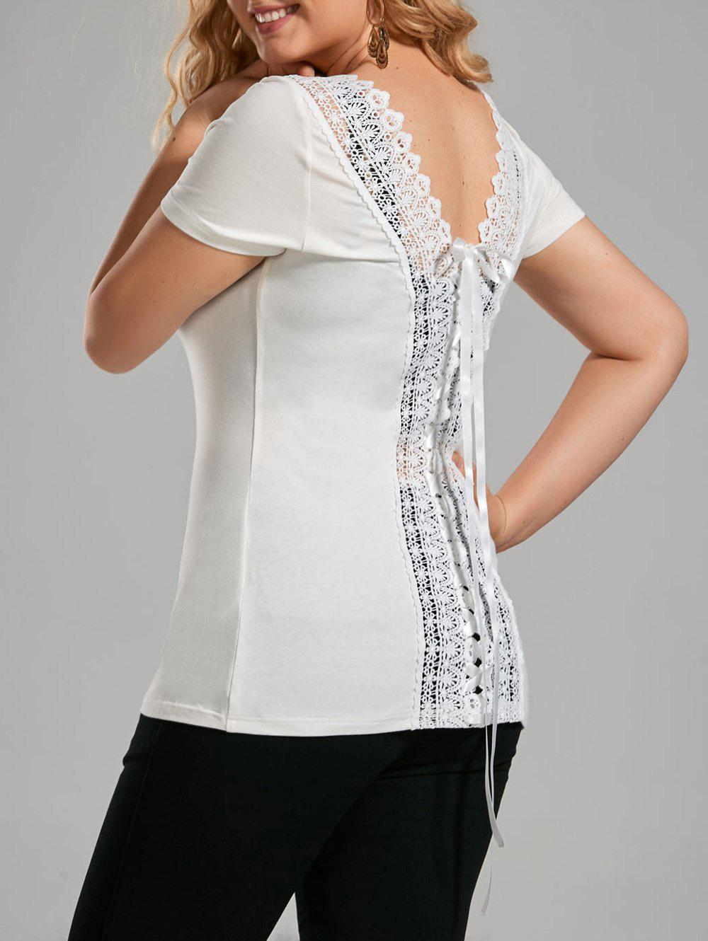 Plus Size Lace Up Open Back TopWOMEN<br><br>Size: 5XL; Color: OFF-WHITE; Material: Rayon,Spandex; Shirt Length: Long; Sleeve Length: Short; Collar: Scoop Neck; Style: Fashion; Season: Summer; Embellishment: Lace; Pattern Type: Solid; Weight: 0.2400kg; Package Contents: 1 x T-shirt;