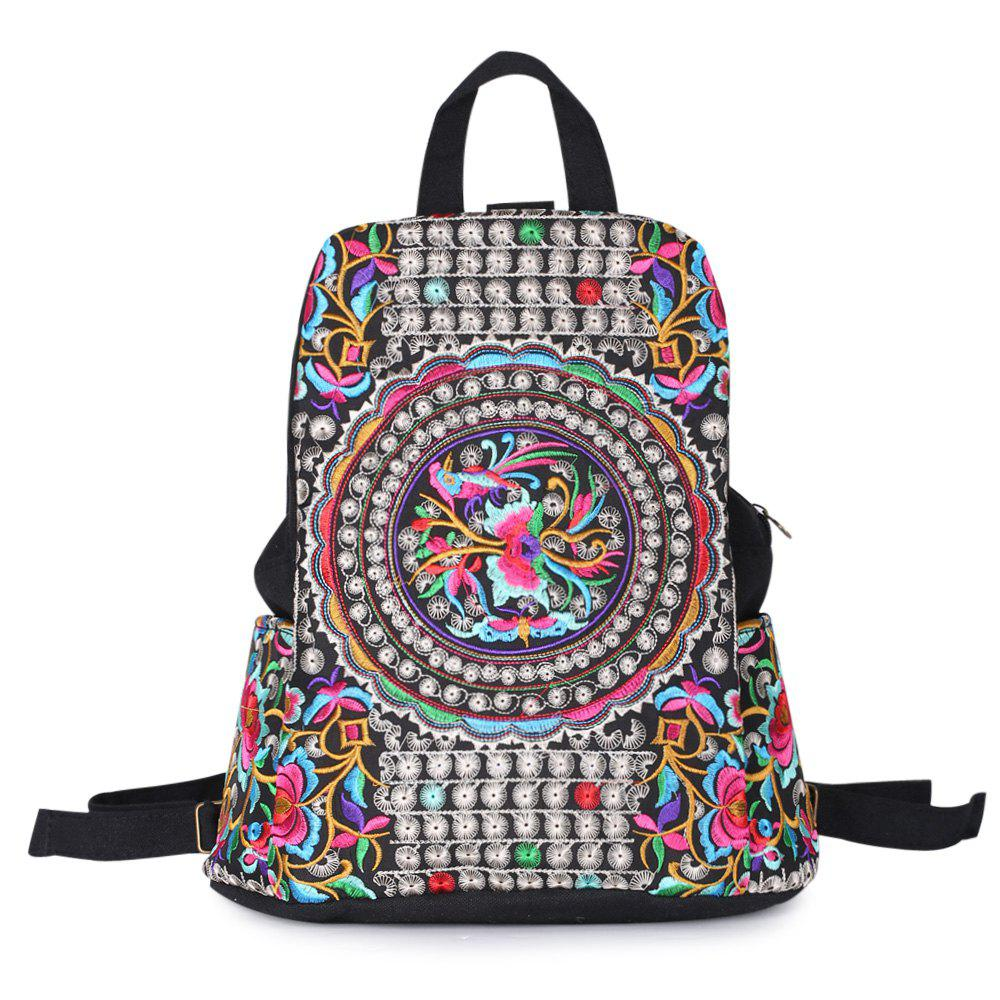 Ethnic Embroidery Canvas BackpackSHOES &amp; BAGS<br><br>Color: BLACK; Handbag Type: Backpack; Style: Casual; Gender: For Women; Embellishment: Embroidery; Pattern Type: Floral; Handbag Size: Medium(30-50cm); Closure Type: Zipper; Interior: Interior Zipper Pocket; Occasion: Versatile; Main Material: Canvas; Weight: 1.2000kg; Size(CM)(L*W*H): 29*15*32; Package Contents: 1 x Backpack;