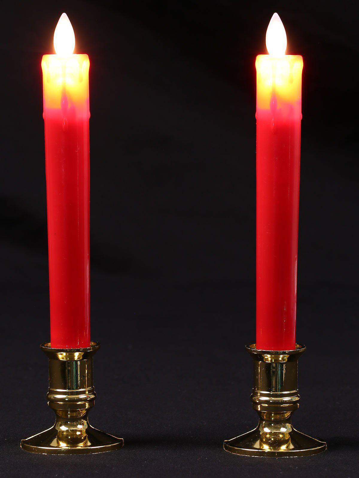 LED Swing Electrnic Plastic Pillar 2PCS Candles Night LightHOME<br><br>Color: RED; Candle Type: Pillar; Candle Feature: Unscented; Style: Modern; Material: Plastic; Weight: 0.1120kg; Package Contents: 2 x Candle;