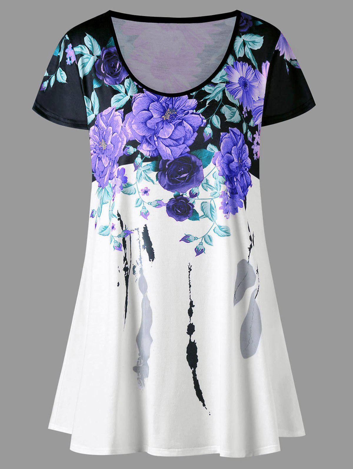 Plus Size Floral Longline TopWOMEN<br><br>Size: 4XL; Color: PURPLE; Material: Polyester,Spandex; Shirt Length: Long; Sleeve Length: Short; Collar: Scoop Neck; Style: Casual; Season: Summer; Pattern Type: Floral; Weight: 0.2300kg; Package Contents: 1 x T-shirt;