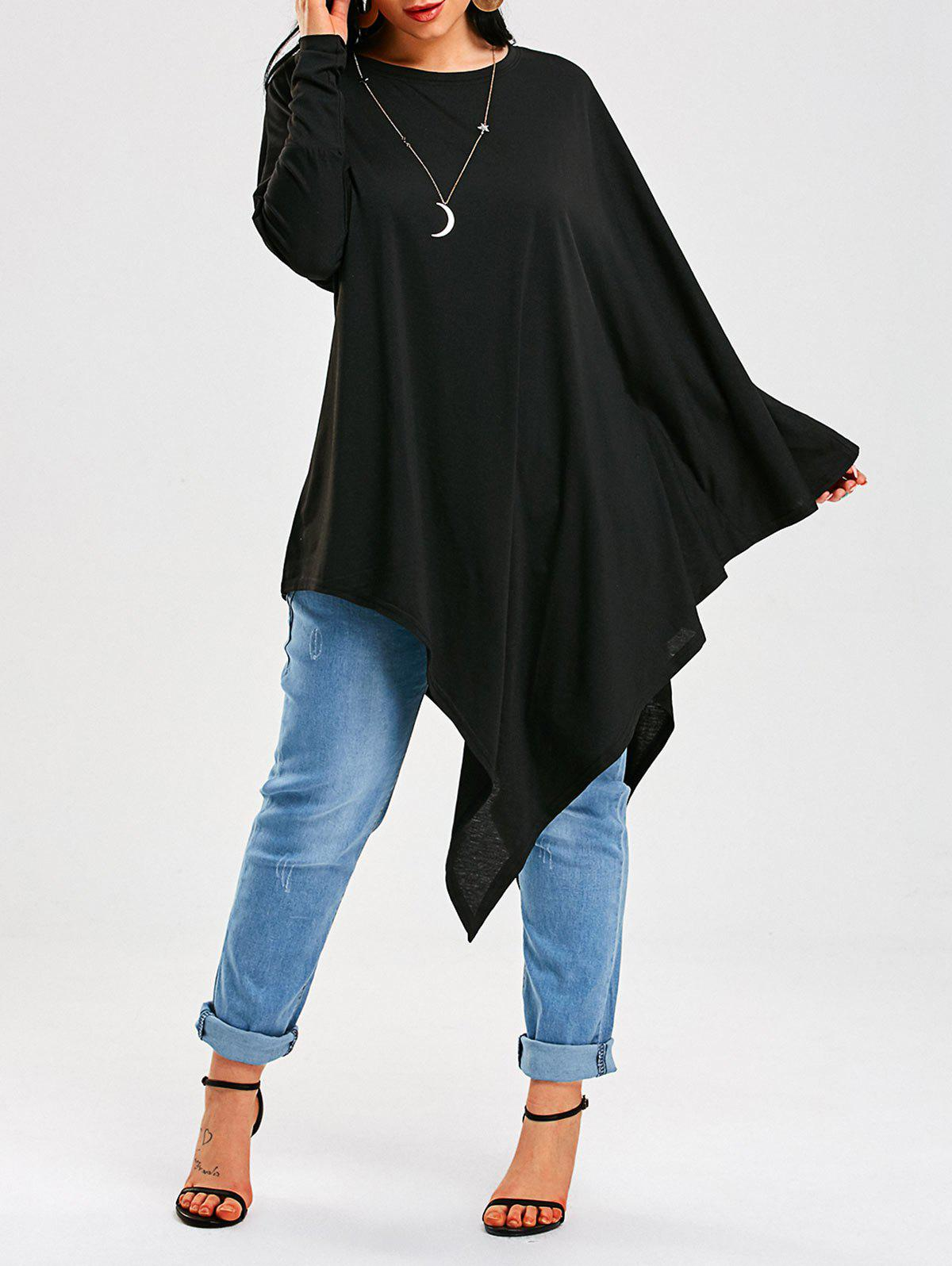 Long Sleeve Asymmetrical Poncho T-ShirtWOMEN<br><br>Size: XL; Color: BLACK; Material: Polyester,Spandex; Shirt Length: Long; Sleeve Length: Full; Collar: Round Neck; Style: Casual; Sleeve Type: Batwing Sleeve; Pattern Type: Solid Color; Season: Fall,Spring; Elasticity: Micro-elastic; Weight: 0.4000kg; Package Contents: 1 x T-Shirt;
