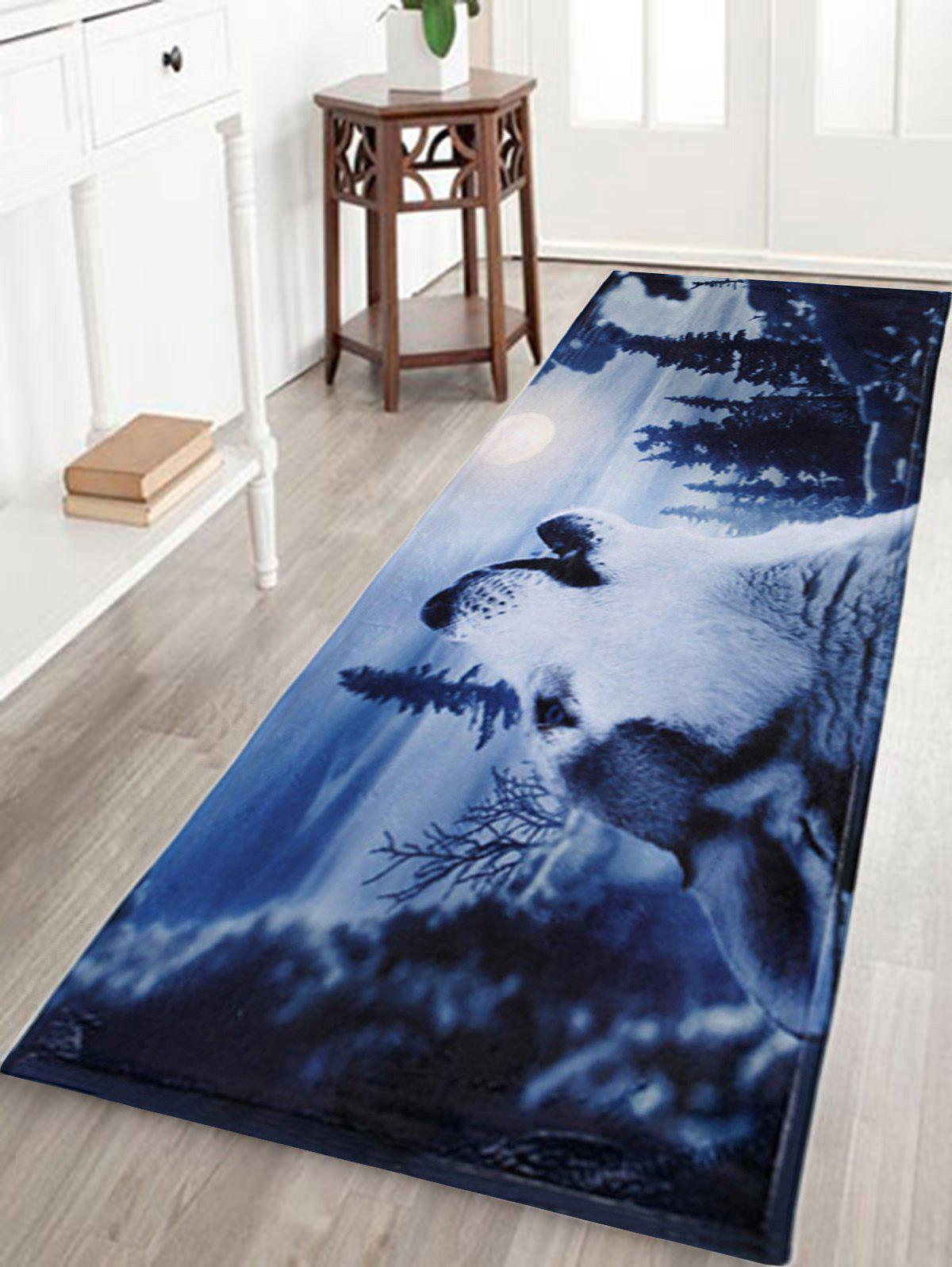 Water Absorbent Snow Wolf Coral Fleece Floor MatHOME<br><br>Size: W24 INCH * L71 INCH; Color: MIDNIGHT; Products Type: Bath Mats; Materials: Coral FLeece; Pattern: Animal; Style: Trendy; Shape: Rectangle; Package Contents: 1 x Mat;