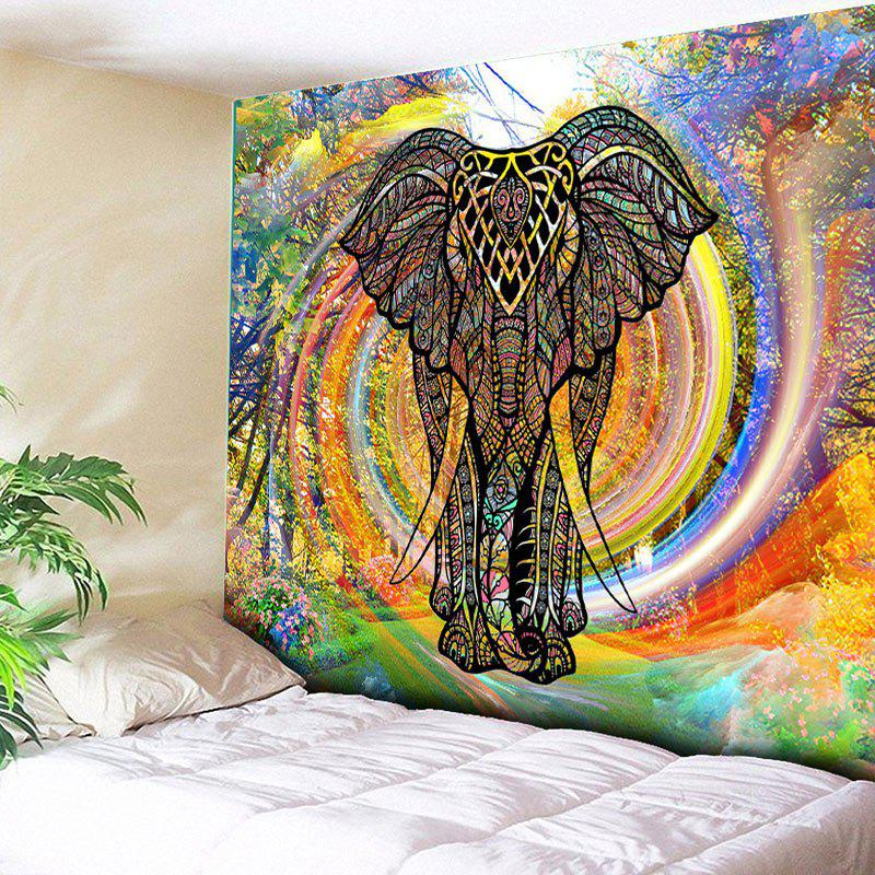 Rainbow Whirlwind Wall Hanging Elephant TapestryHOME<br><br>Size: W59 INCH * L79 INCH; Color: COLORFUL; Style: Fresh Style; Theme: Animals; Material: Cotton,Polyester; Feature: Removable,Washable; Shape/Pattern: Elephant,Print; Weight: 0.3000kg; Package Contents: 1 x Tapestry;