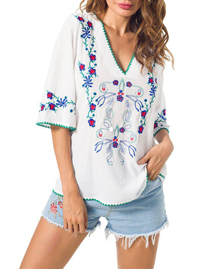 Outfit Embroidered V Neck Peasant Blouse