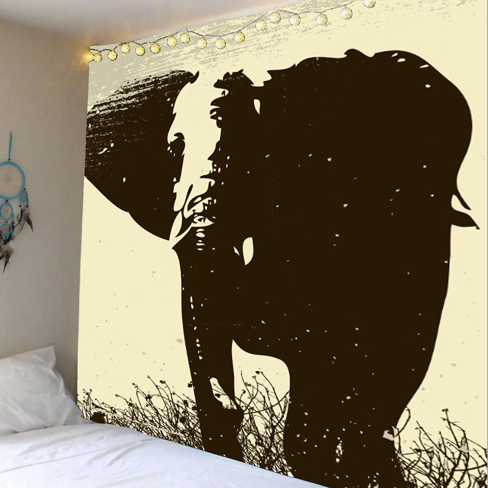 Home Decor Elephant Print Wall Hanging Tapestry, Gray