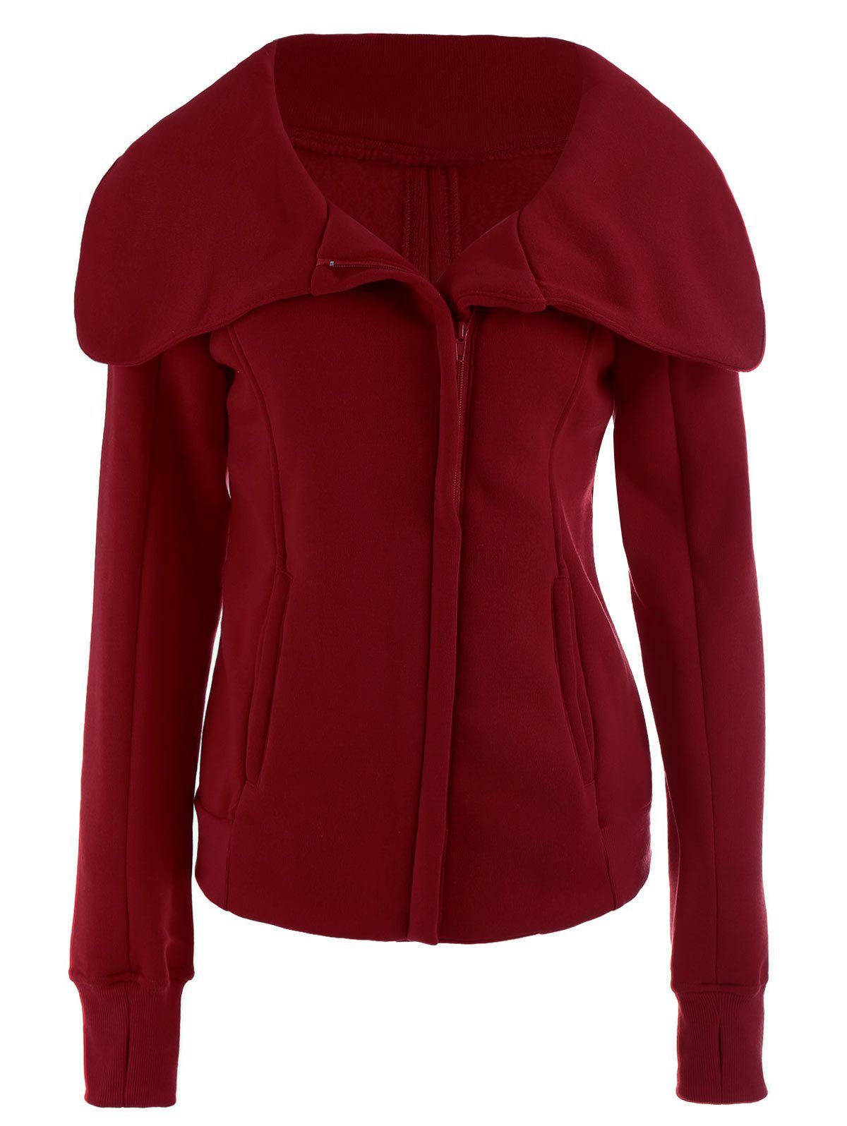 Buy Chic Hooded Long Sleeve Pure Color Zippered Women's Jacket