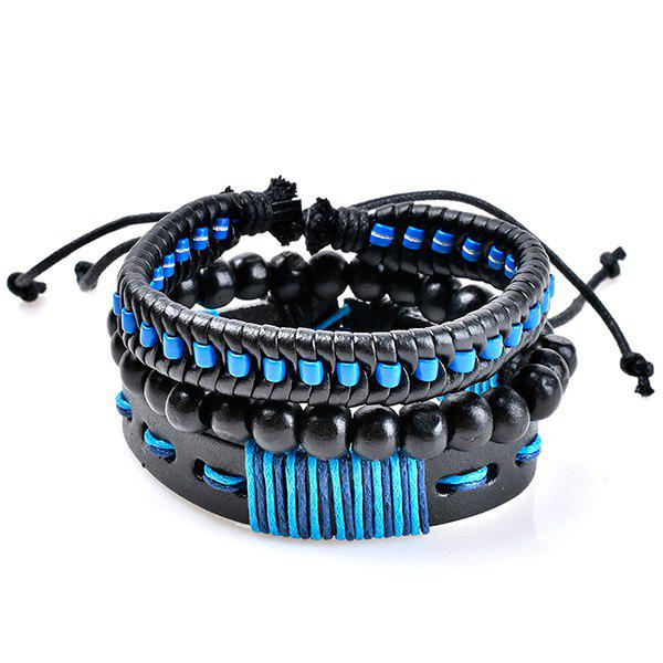 Woven Artificial Leather Beads Friendship BraceletsJEWELRY<br><br>Color: BLUE; Item Type: Strand Bracelet; Gender: Unisex; Chain Type: Beads Bracelet,Leather Chain,Rope Chain; Style: Trendy; Shape/Pattern: Round; Weight: 0.0400kg; Package Contents: 1 x Bracelet(Set);