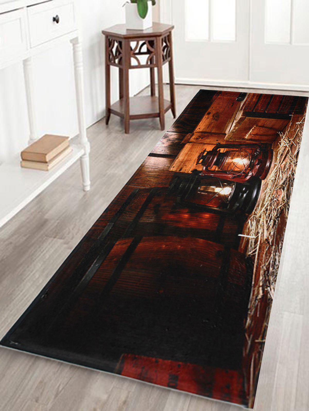 Antislip Coral Fleece Vintage Lantern Area RugHOME<br><br>Size: W24 INCH * L71 INCH; Color: BROWN; Products Type: Bath rugs; Materials: Coral FLeece; Pattern: Print; Style: Vintage; Shape: Rectangle; Package Contents: 1 x Area Rug;