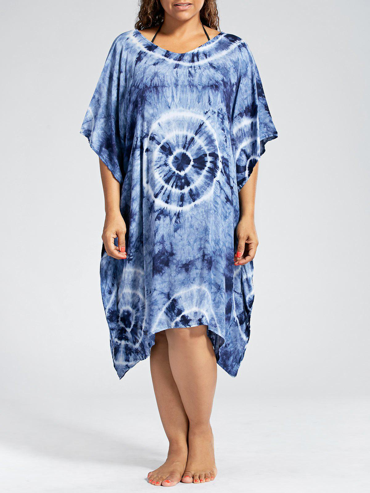 Plus Size Cover Up Dress with Batwing SleeveWOMEN<br><br>Size: ONE SIZE; Color: PURPLISH BLUE; Gender: For Women; Swimwear Type: Cover-Up; Material: Polyester,Spandex; Pattern Type: Others; Waist: Natural; Elasticity: Micro-elastic; Weight: 0.3200kg; Package Contents: 1 x Dress;