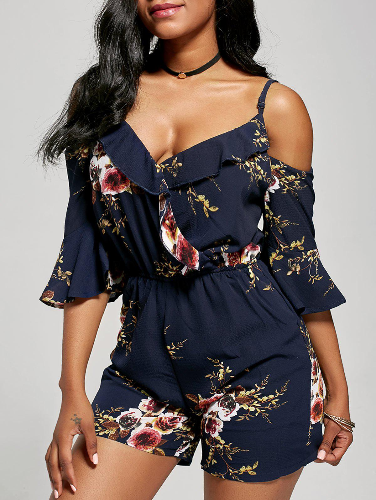 Outfit Floral Ruffle Cold Shoulder Romper