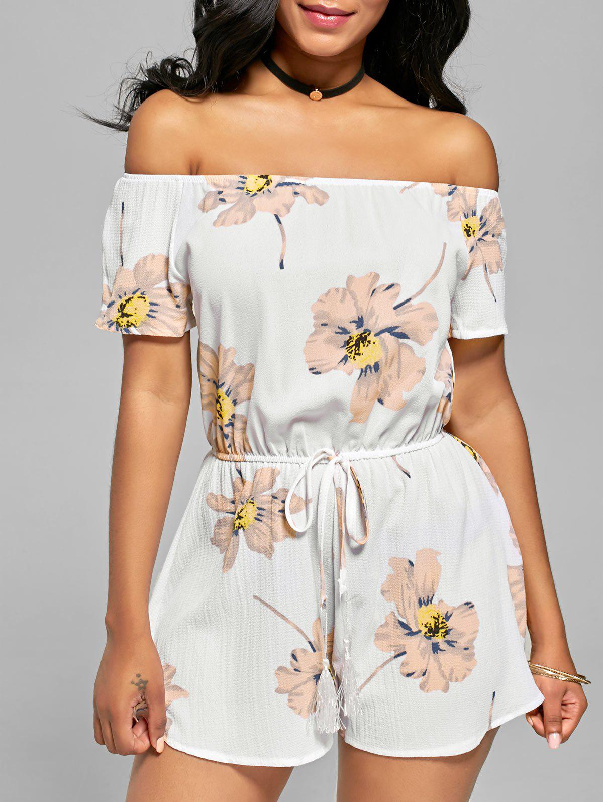 Store Tassel Floral Off The Shoulder Romper