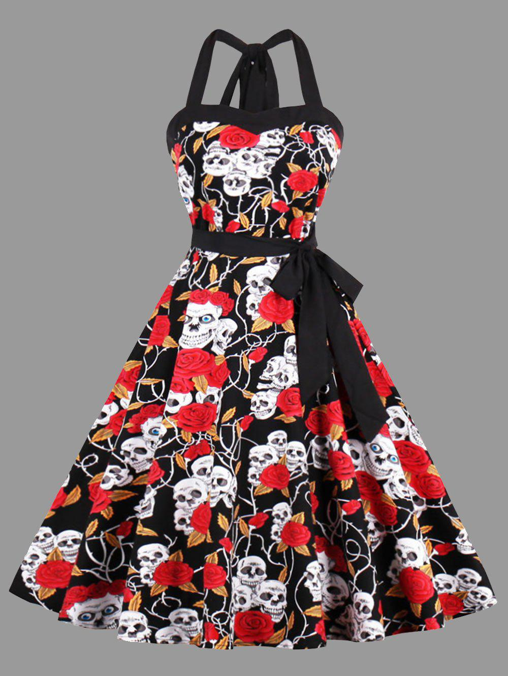 Affordable Halter Floral Skull Print Plus Size Vintage Dress
