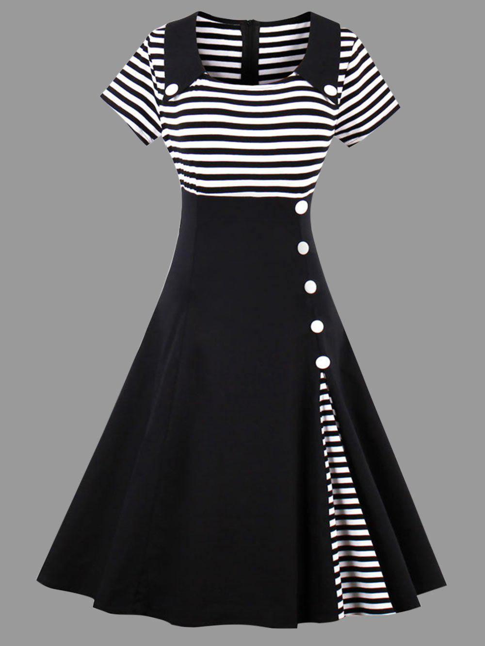 Striped Midi Plus Size Vintage Skater DressWOMEN<br><br>Size: 3XL; Color: BLACK; Style: Vintage; Material: Polyester; Silhouette: A-Line; Dresses Length: Mid-Calf; Neckline: Square Collar; Sleeve Length: Short Sleeves; Pattern Type: Striped; With Belt: No; Season: Summer; Weight: 0.4700kg; Package Contents: 1 x Dress;