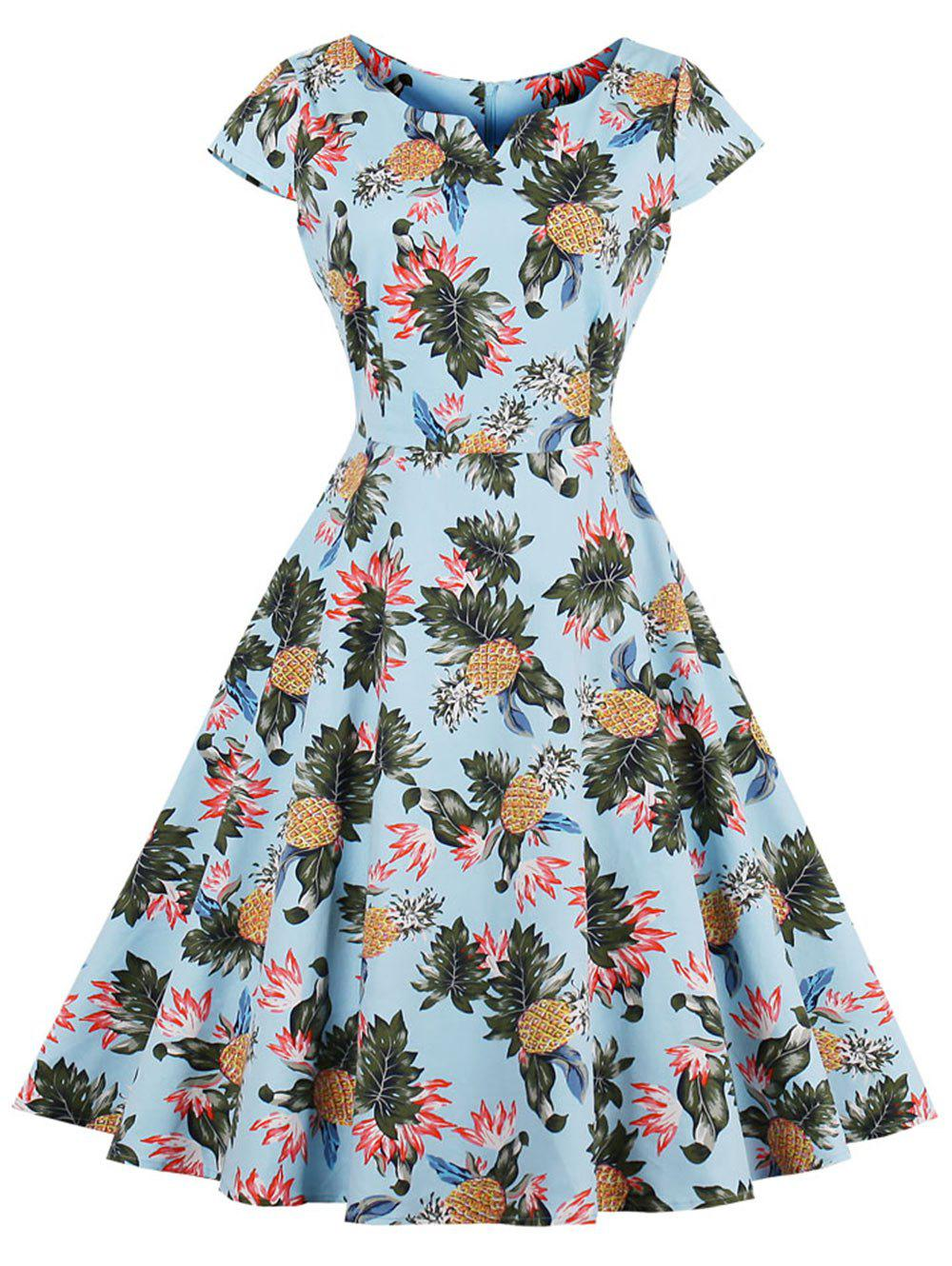 504cc355955 2019 Pineapple Print A Line Vintage Plus Size Dress