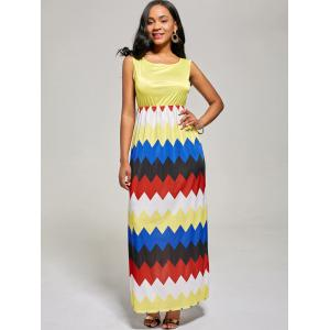 Sleeveless Color Block Long Zig Zag Dress - YELLOW XL