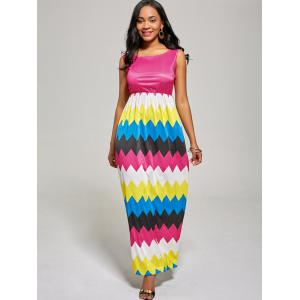 Sleeveless Color Block Long Zig Zag Dress - ROSE MADDER XL