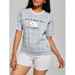 Checked Print Cotton Pajamas Set