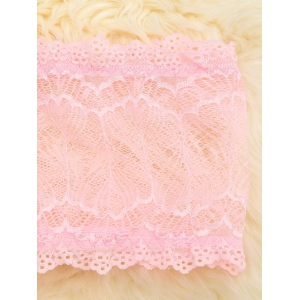 Scalloped Mesh Lace Tube Top - PINK S