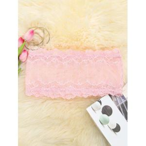 Scalloped Mesh Lace Tube Top - PINK M